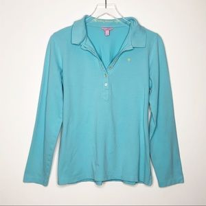 Lilly Pulitzer | Blue Long Sleeve Polo Size XL